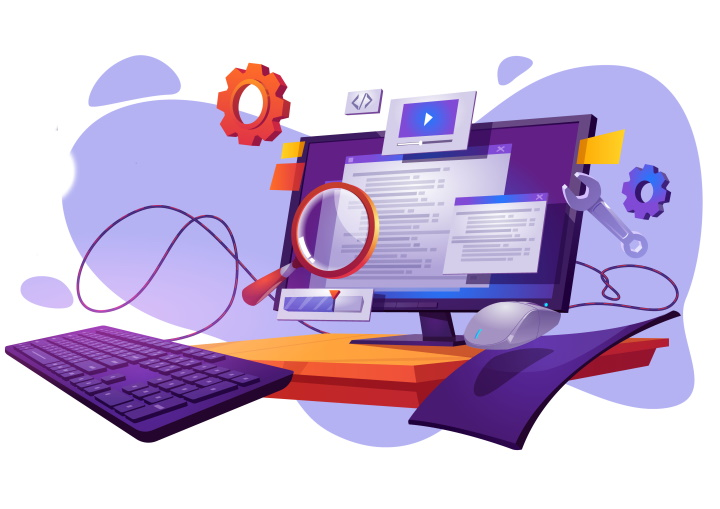 Code testing cartoon banner. Functional test, methodology of programming, search errors and bugs, website platform development, dashboard usability optimization for computer pc vector illustration